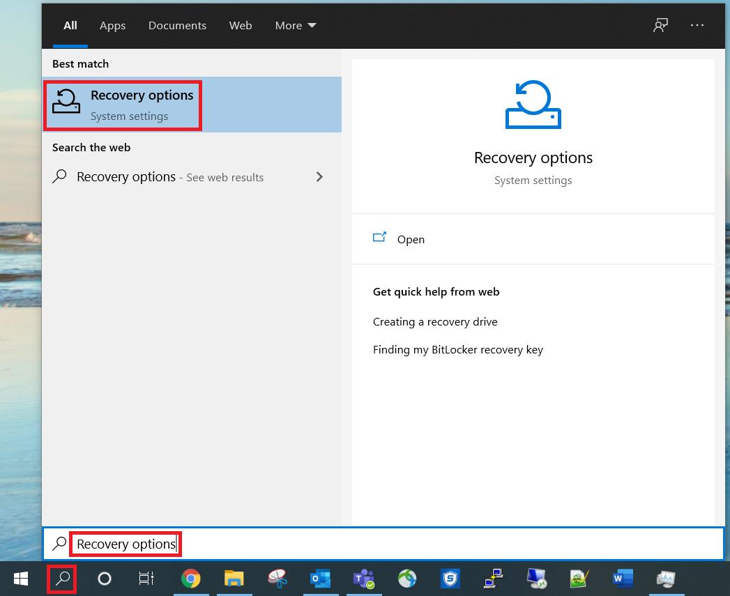 افتح خيارات الاسترداد باستخدام ميزة البحث في Windows